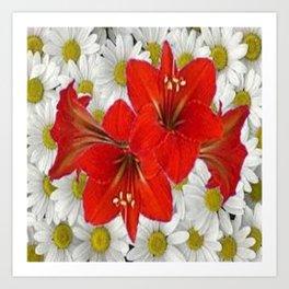 RED AMARYLLIS WHITE DAISIES FLORAL ART Art Print