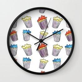 Sweet Tooth Cupcake Pattern Wall Clock