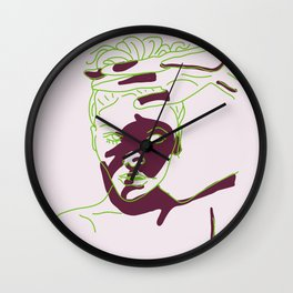 shadow of hand (green and purple) Wall Clock