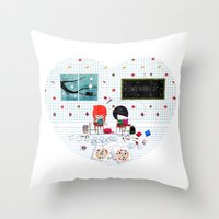 notebook Throw Pillows featuring Sweethearts on Notebook by Nonnetta