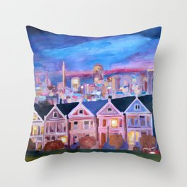 San Francisco - Painted Ladies - Alamo Sq Throw Pillow