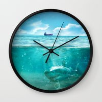 kpop Wall Clocks featuring Blue by SensualPatterns