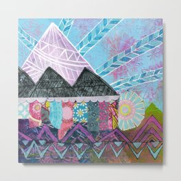 Purple Majesty Mountain Kaleidoscope Metal Print