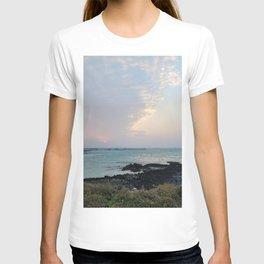Sunset Bird hair cloud on the jeju island sea in Korea. T-shirt