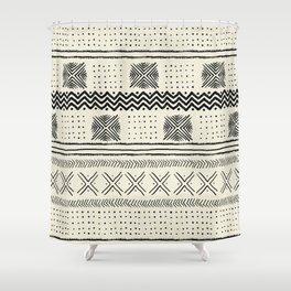 Mud Cloth Geometric Stripe in Cream Shower Curtain