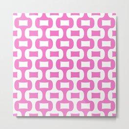 Mid Century Modern Ogee Pattern 312 Pink Metal Print