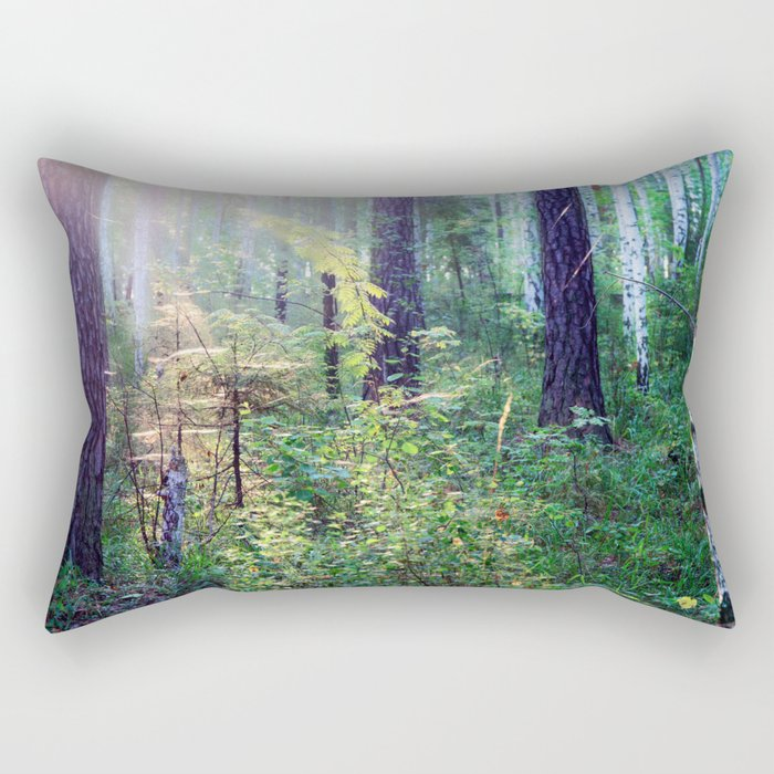 Sunny morning in the forest Rectangular Pillow