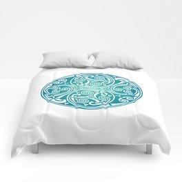 St. Patrick's Day Celtic Blue Mandala #3 Comforters