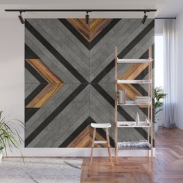 Urban Tribal Pattern 2 - Concrete and Wood Wall Mural