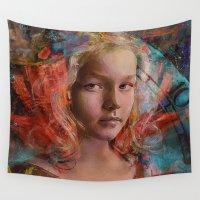 alice wonderland Wall Tapestries featuring Alice in wonderland by Joe Ganech