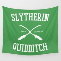 slytherin Wall Tapestries featuring Hogwarts Quidditch Team: Slytherin by IA Apparel