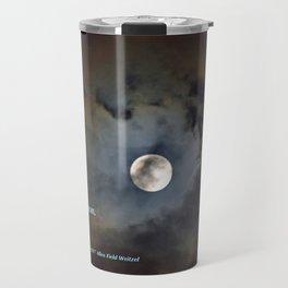 """Shadowy Moon #44"" with poem: New Year's Moon Travel Mug"
