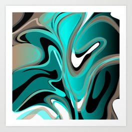 Liquify 2 - Brown, Turquoise, Teal, Black, White Art Print