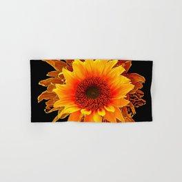 Decor Black & Brown Golden Sunflower Art Hand & Bath Towel