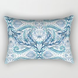 Lily, Leaf & Triangle Pattern – blues Rectangular Pillow