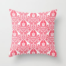 Giraffe Damask Coral Throw Pillow
