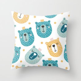 Bear Print - Prince of the Forest Throw Pillow