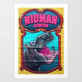 Circus Hippo Art Print