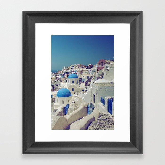 Blue Domes, Oia, Santorini, Greece Framed Art Print