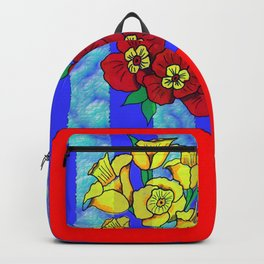 Blue and Red Floral pattern Backpack