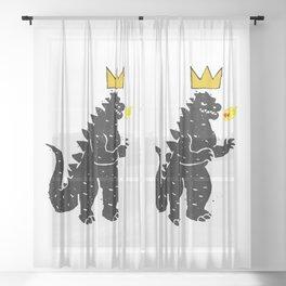 Jean-Michel Basquiat's Crown on Japanese Monster Sheer Curtain