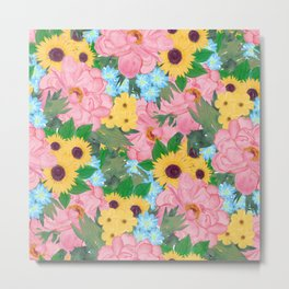 Trendy Pink Peonies Yellow Sunflowers Watercolor paint Metal Print
