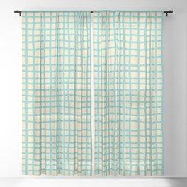 coconut cream aqua ocean thread random cross hatch lines checker pattern Sheer Curtain