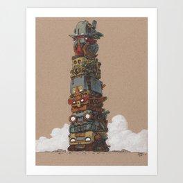 Robototem Pole Art Print
