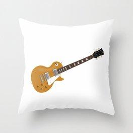 Gold Electric Guitar Throw Pillow
