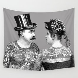 Tattooed Victorian Lovers Wall Tapestry