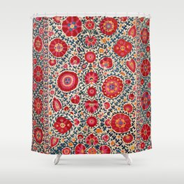 Kermina Suzani Uzbekistan Embroidery Print Shower Curtain