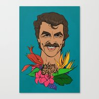 tom selleck Canvas Prints featuring Mr. Selleck by Beth Austin Illustration