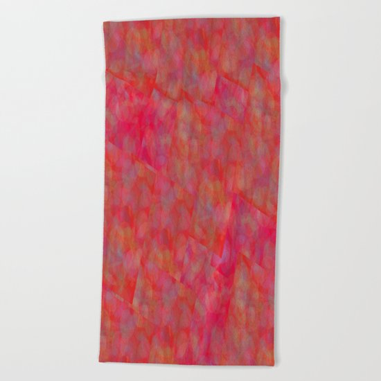 Bright Pink Cubism Abstract Beach Towel