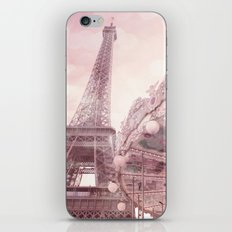 Paris Eiffel Tower Pink Carousel With Hearts Wall Art Prints and Home Decor iPhone & iPod Skin