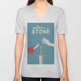 The sword in the stone, minimalist movie poster, animated film, King Arthur, Merlin, retro playbill Unisex V-Neck