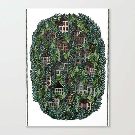 Little Forest Town Canvas Print