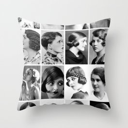 Roaring 1920's Historical Flapper Female Hairstyles black and white photography - black and white photographs Throw Pillow