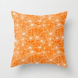 Pumpkin Cobwebs Throw Pillow