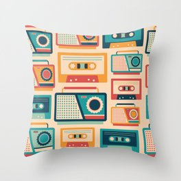 Audio Cassettes and Radios Throw Pillow