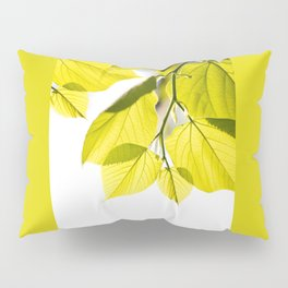 Twig with young green leaves on white Pillow Sham