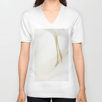 skiing V-neck T-shirts featuring Gull Skiing by Karol Livote