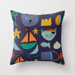 cat and bear pirate purple Throw Pillow