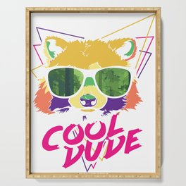 Retro Racoon Cool Dude in Sunglasses Serving Tray