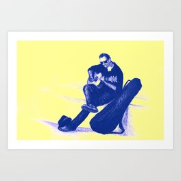 Guitarist playing on the street. Drawing illustration Art Print
