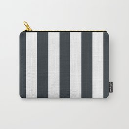 Gunmetal grey - solid color - white vertical lines pattern Carry-All Pouch
