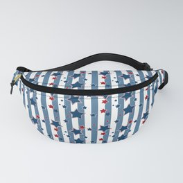 Red and blue stars on a striped background . Fanny Pack