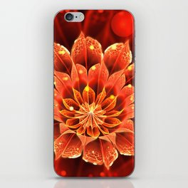 Red Dahlia Fractal Flower with Beautiful Bokeh (Vivid Crimson) iPhone Skin
