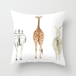Cute animal butts Throw Pillow