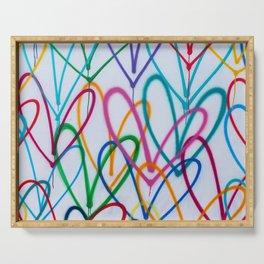 Multicoloured Love Hearts Graffiti Repeat Pattern Serving Tray