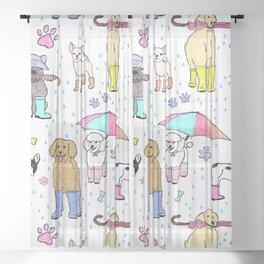 Dotty Downpour Doggie Doodles Sheer Curtain